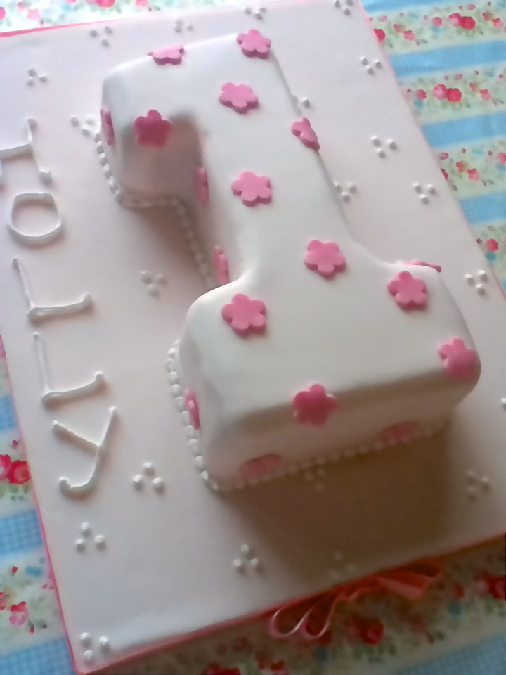 Brilliant Girls Pink Flower First Birthday Number 1 Cake Make Bake Sew Personalised Birthday Cards Paralily Jamesorg