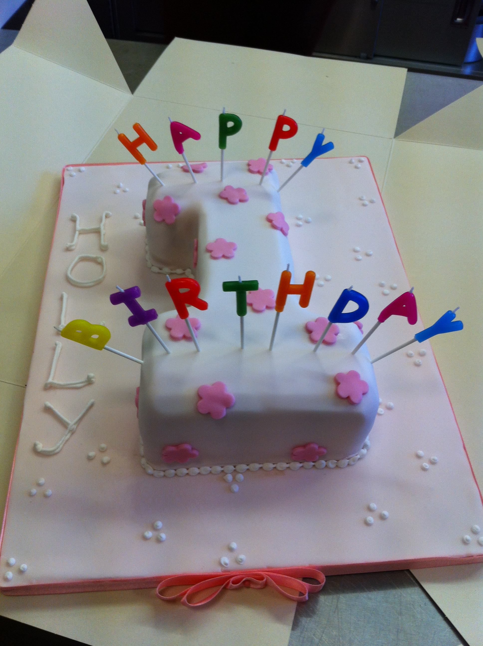 Girls Pink Flower First Birthday Number 1 Cake Make Bake Sew