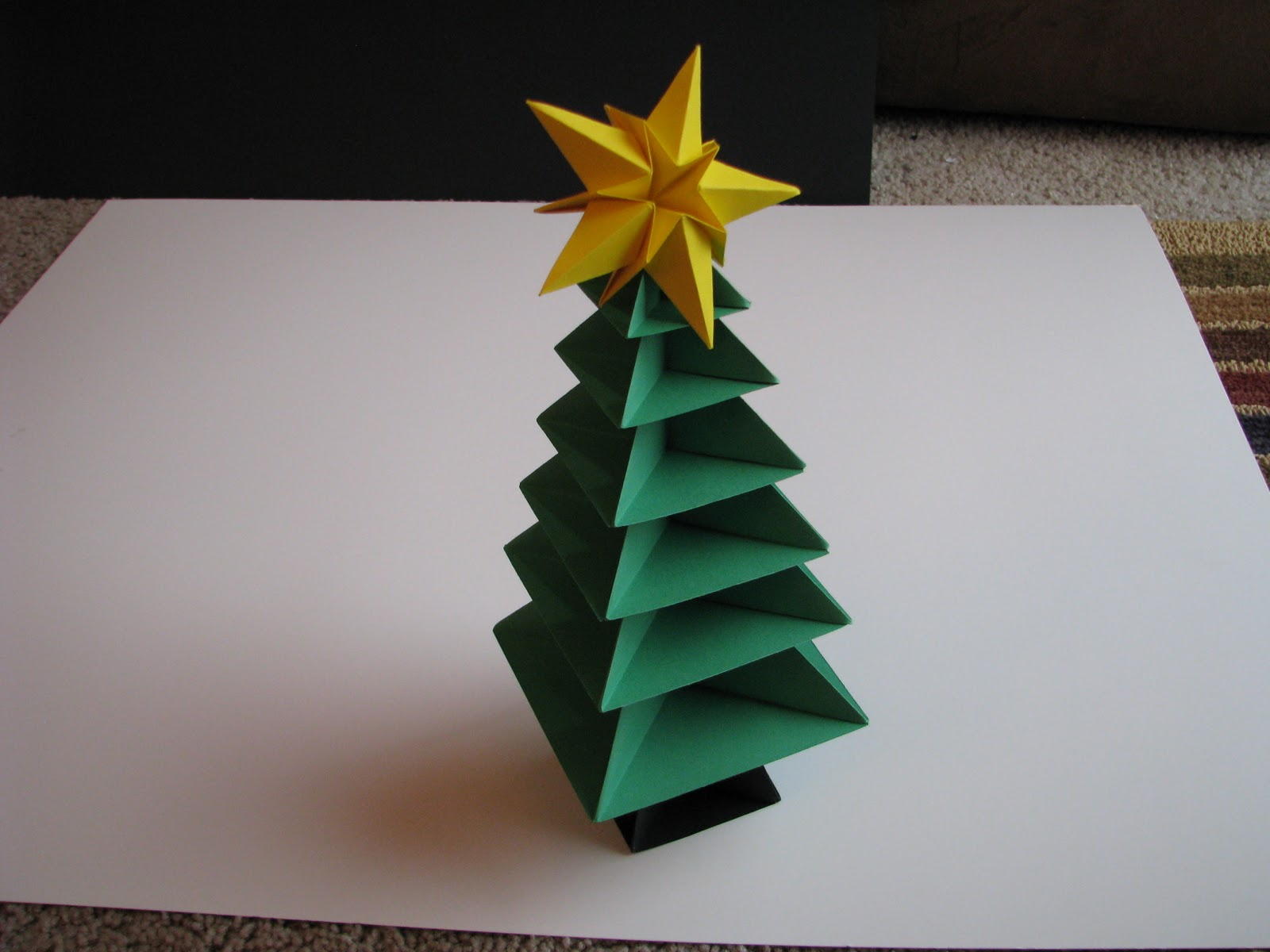Origami christmas tree tutorial 36 make bake sew for How to make paper christmas decorations at home